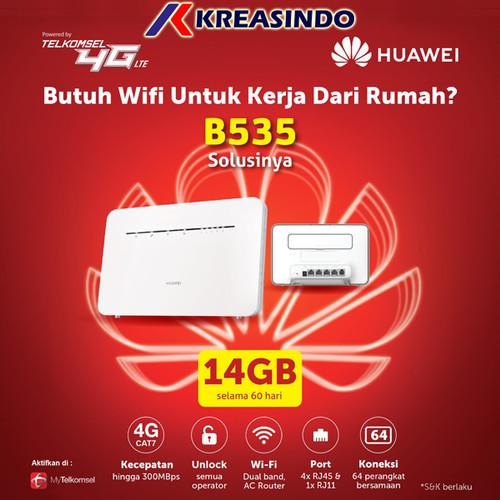 Foto Produk Huawei B535 Home Router Wifi 4G LTE Cat 7 Unlock Free Telkomsel 14Gb dari Kreasindo Online