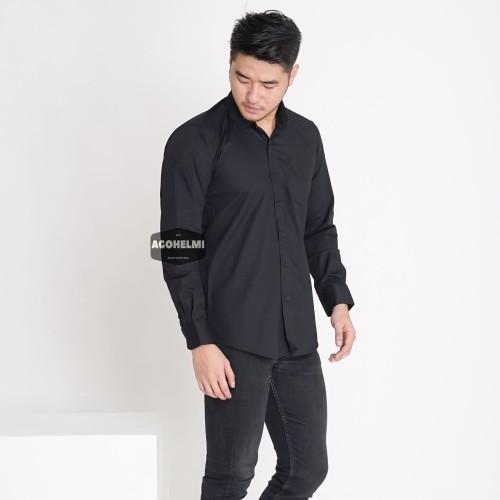 Foto Produk kemeja panjang 2679 hitam polos slimfit casual keren formal - Hitam, L dari ago helmi shop