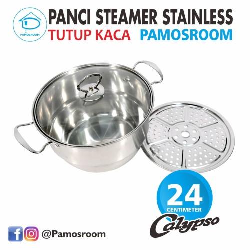 Foto Produk Calypso Panci Steamer Stainless 24cm + Tutup Kaca 24 Cm Free Kukusan dari Pamosroom Living