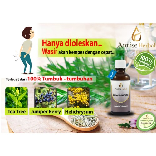 Foto Produk Obat wasir, Herbal alami, Salep wasir, Kesehatan, Hemorrhoid Oil 50ml dari anniseherbal