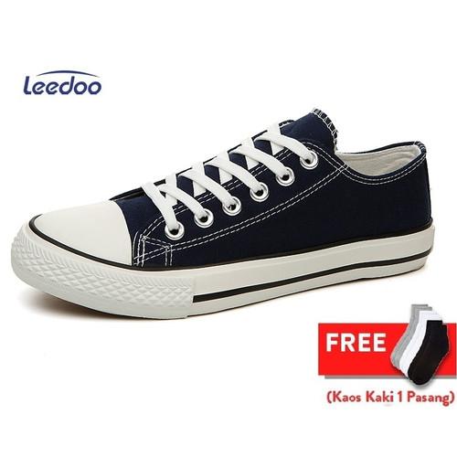 Foto Produk Leedoo Sepatu Sneakers Kasual Pria sepatu Sekolah Hitam Putih MC303 - Hitam, 40 dari Leedoo