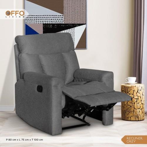 Foto Produk Kursi Sofa Recliner 1 Seater Leg Rest - Cozzy Recliner - Grey dari Offo Living