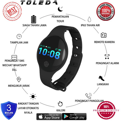 Foto Produk TOLEDA SmartBand TLW 08 Original 100% Smartwatch - Hitam dari Toleda Indonesia
