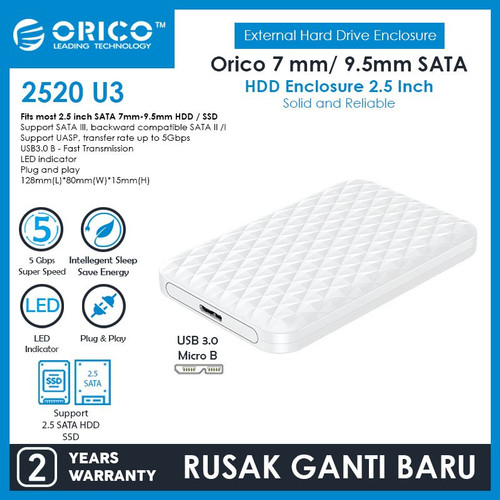 """Foto Produk ORICO HDD SSD Casing / Enclosure 2.5"""" - 2520U3 - Putih dari ORICO INDONESIA"""
