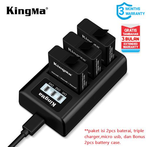 Foto Produk Baterai Kit KINGMA GoPro Hero 7 / 6 /5 Black 2-pack Triple Charger LCD - PAKET 2 BAT dari Kingma Indonesia