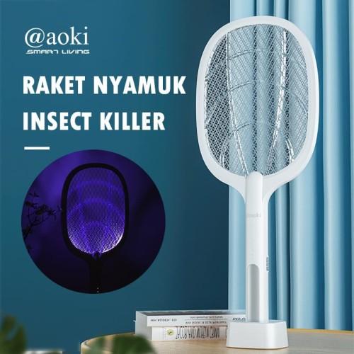Foto Produk Raket Nyamuk Premium wireless Charge Aoki 881 S putih + dock charge dari POM CELL