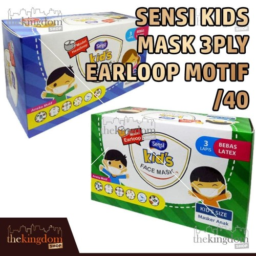 Foto Produk Sensi Kids Mask 3ply Headloop Earloop Motif /40 Masker Medis Anak - Earloop, Packing Plastik dari The Kingdom Shop