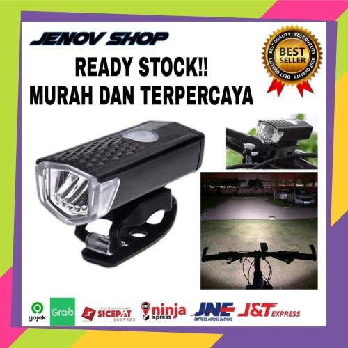 Foto Produk Lampu Sepeda Rechargeable USB I Hitam - Senter Sepeda Cas dari Jenov shop