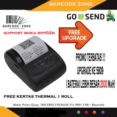 Jual Mini Portable Printer Ppob Kasir 58mm Thermal Zjiang Zj 5802 Bluetooth Jakarta Pusat Barcode Zone Tokopedia