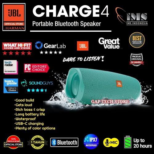 Foto Produk JBL Charge 4 / Charge4 Portable Waterproof Bluetooth Speaker Original - Teal dari GAP TECH STORE