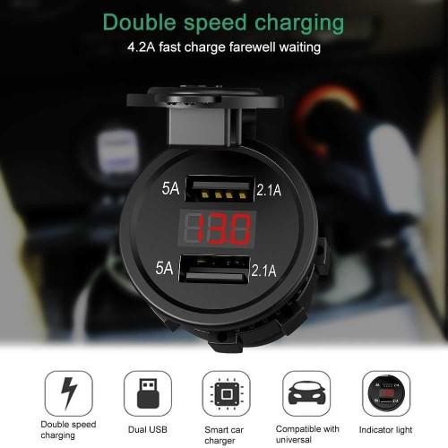 Foto Produk Fast Charger Lighter Mobil Motor 4.2A 2 USB LED Voltmeter Waterproof dari Eco Power Tech