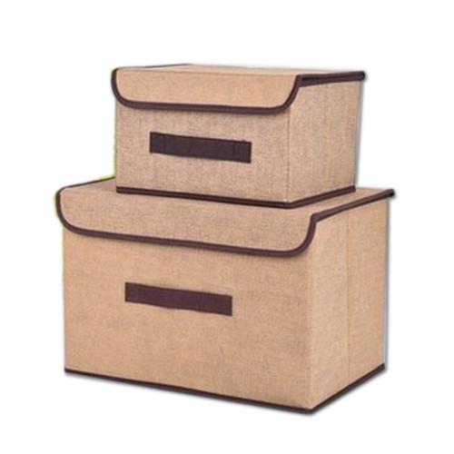 Foto Produk SBS003 - 2 in 1 Colour Storage Box / Tempat Penyimpanan (1pc dpt 2box) - Cokelat Muda dari GLAMGORGEOUS