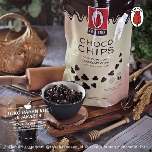 Foto Produk Tulip DARK Chocolate Chip 1kg PACK ASLI Chocochips Cokelat Chips 6mm dari Toko Bahan Kue-Tangerang