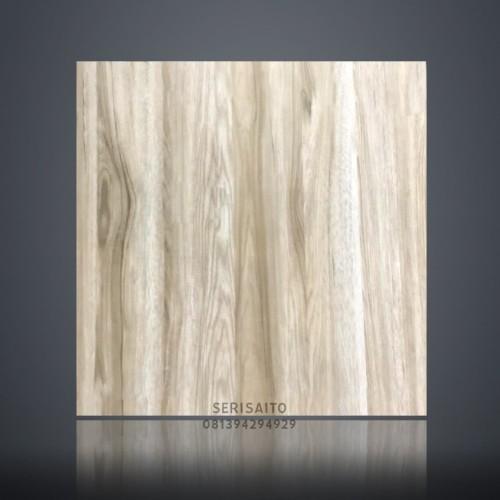 Foto Produk Granit Corak Kayu 60x60 White Elmwood Glossy / Granit Urat Kayu dari serisaito