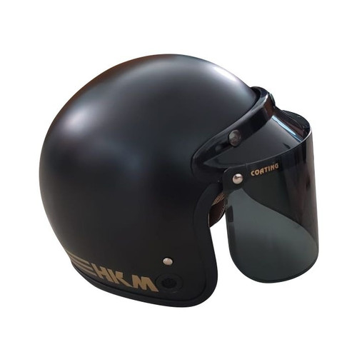 Foto Produk Helm Retro Line Black Doff HKM + Visor Datar dari GudangHelm