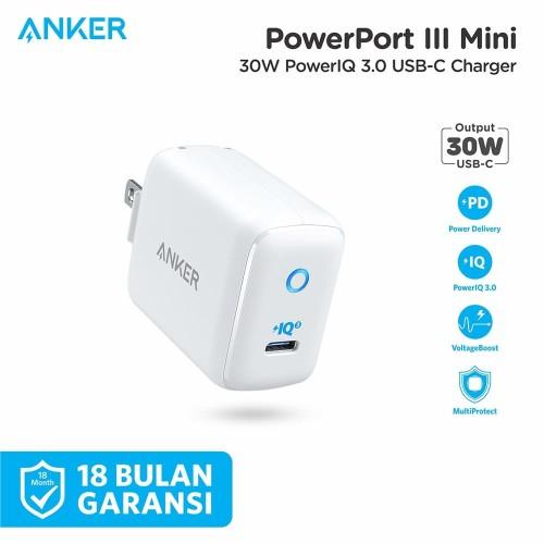 Foto Produk Wall Charger Anker PowerPort III Mini White - A2615 dari Anker Indonesia