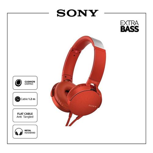 Foto Produk SONY MDR-XB550AP Extra Bass Headphone / XB550AP / XB-550AP - Merah dari Sony Audio Official