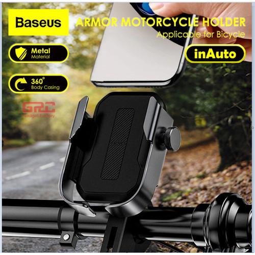 Foto Produk Phone Holder Sepeda Motor BASEUS Holder Bike Motorcyle Universal - Silver dari Gadget Factory