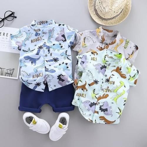 Foto Produk Baju Setelan Kemeja Bayi Laki-Laki Premium Import - Dino - Dino Green, S dari SVN Queenpy