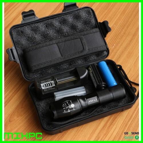Foto Produk Senter LED E17 Tactical CREE XM-L2 8000 Lumens Baterai + Charger dari mixpc