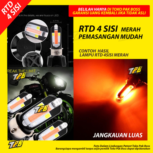 Foto Produk Lampu Depan Motor led RTD 35w 40w watt 3 4 6 sisi Beat Mio Vario M02K - 4 sisi merah dari TOKO PAK BOSS