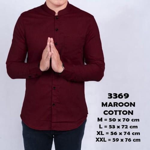Foto Produk Kemeja pria kerah shanghai koko lengan panjang slimfit MERAH MAROON - Maroon, M dari ago helmi shop