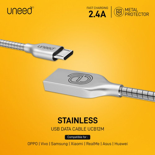 Foto Produk Uneed Stainless Steel Kabel Data Micro USB Fast Charging 2.1A - UCB12M - Silver dari Uneed Indonesia