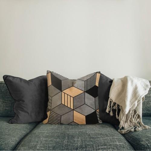 Foto Produk Klampis| sarung bantal pillow cover 45 cm abu coklat kubus motif tebel dari Mendekor