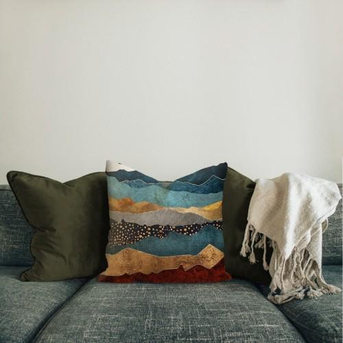 Foto Produk Nazara | sarung bantal pillow cover 45 cm motif gunung emas hitam kado dari Mendekor