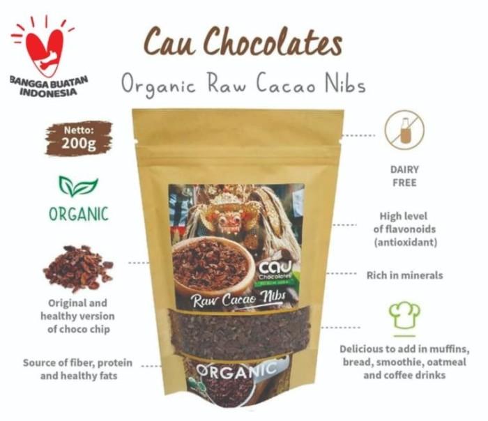 Foto Produk Raw Cacao Nibs Organic Cau Chocolates 200gr dari Kantin Organik