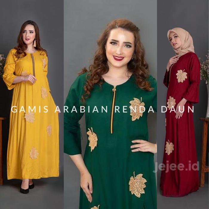 Foto Produk Daster Arab Andalusia SYAMILA Renda Daun Kain Rayon All size - Merah dari Jejee ID