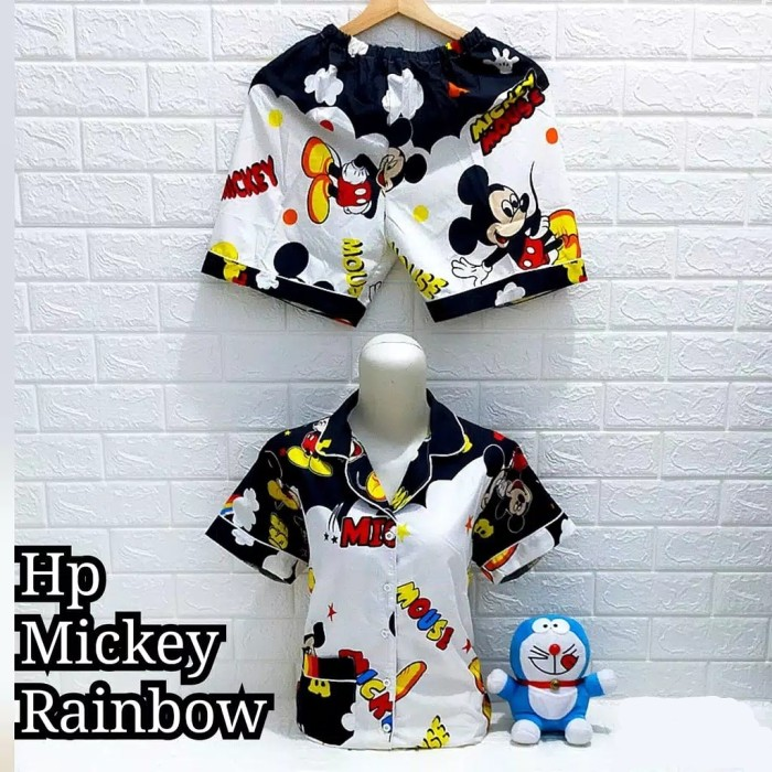 Foto Produk Piyama Hotpants Mickey Rainbow Dewasa dari Wallsticker shop