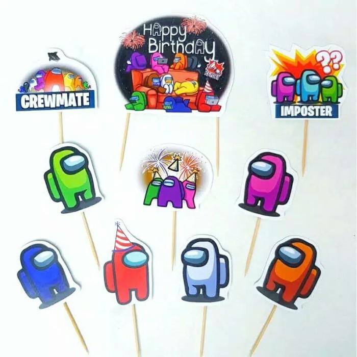Foto Produk satu set topper toper cake hiasan kue ulang tahun karakter Among us dari recht shop