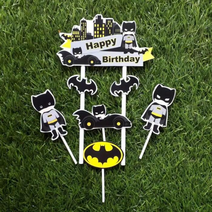 Foto Produk satu set topper toper cake hiasan kue ulang tahun karakter batman dari recht shop