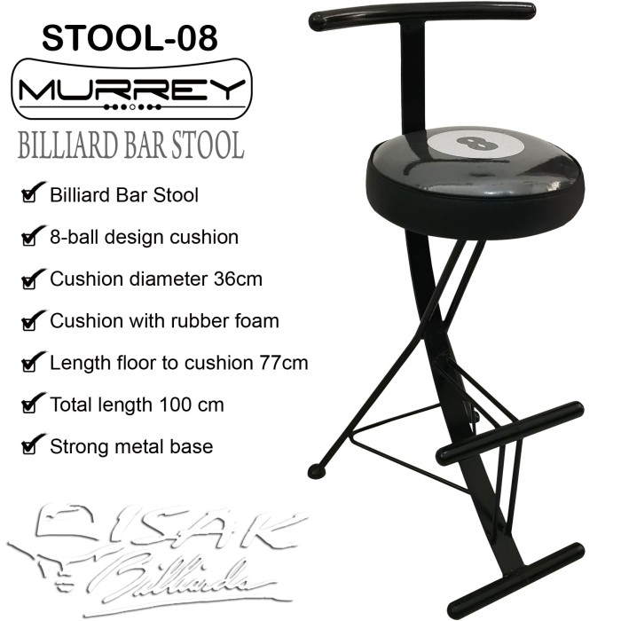 Foto Produk Billiard Bar Stool 8-ball Cushion - Kursi Tinggi Cafe Bangku Kafe Meja dari ISAK Billiard Sport Co.
