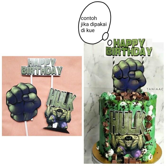 Foto Produk satu set topper toper cake hiasan kue ulang tahun karakter Hulk dari recht shop