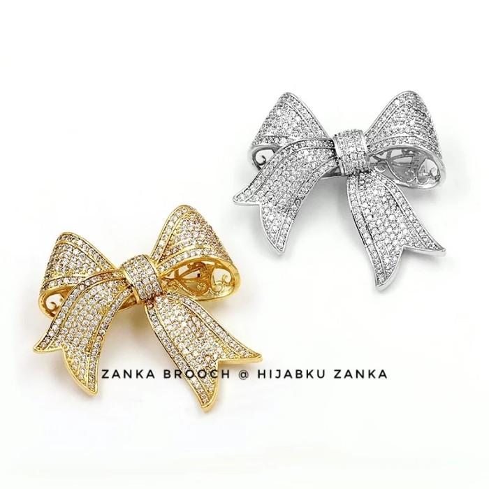 Foto Produk bros pita glamor | ribbon glamour brooch - silver dari Hijabku Zanka