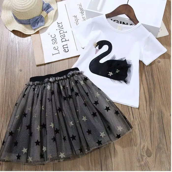 Foto Produk Setelan rok tutu FLaminggo Import, baju anak Import 1set, pakaian anak dari Minochi shop