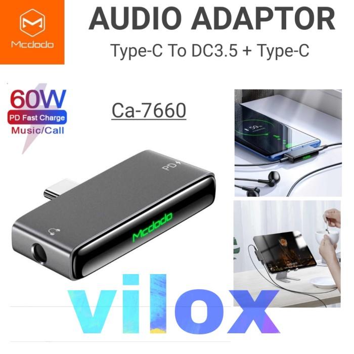 Foto Produk mcdodo audio adapter pd 60w type c to jack 3.5mm ipad pro s note 10 20 dari Vilox