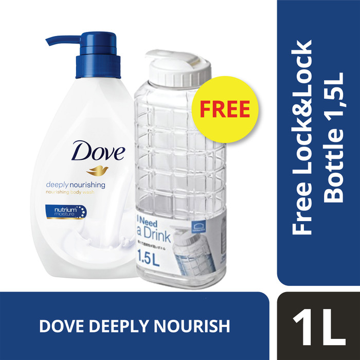 Foto Produk Dove Body Wash Deeply Nourishing Pump 1L free Lock n Lock 1.5L dari Unilever Official Store