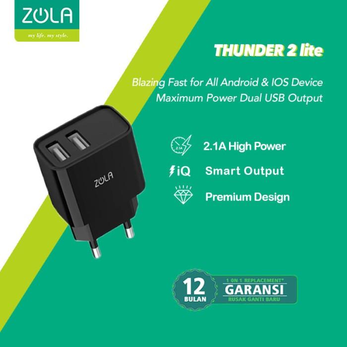 Foto Produk Zola Thunder 2 Lite Dual Ports USB Charger Fast Charging 2.1A - Hitam dari Zola Indonesia