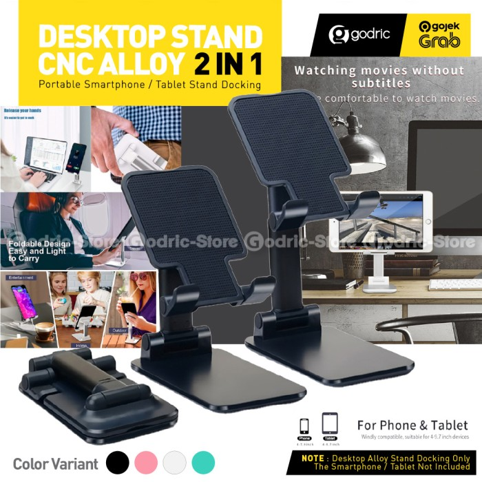 Foto Produk T4 Folding Desktop Smartphone Holder HP Tablet Ipad Stand di Meja - BLACK dari Godric Store