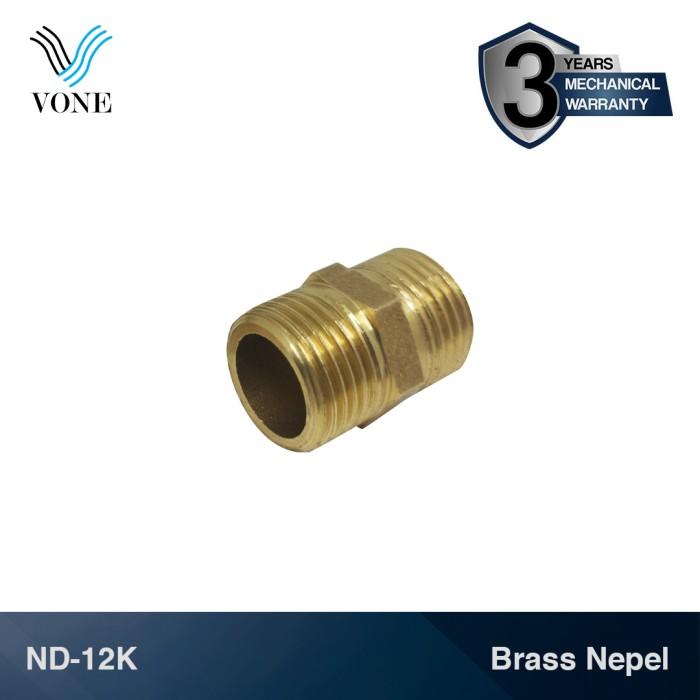 "Foto Produk VONE ND-12K Nepel Double 1/2"" M x 1/2"" M Sok Keran Kuningan dari Vone Sanitary Indonesia"
