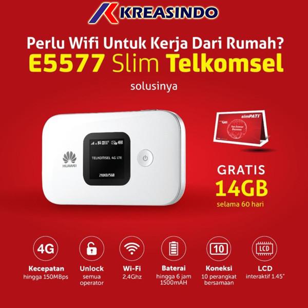 Foto Produk Huawei E5577 Slim Mifi Router Modem Wifi 4G Free Telkomsel 14Gb - Putih dari Kreasindo Online