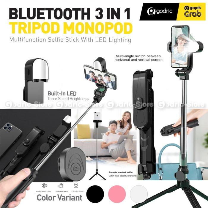 Foto Produk XT10S Bluetooth 3in1 Tongsis / Tripod / Stand Holder HP Selfie + Lampu - BLACK dari Godric Store