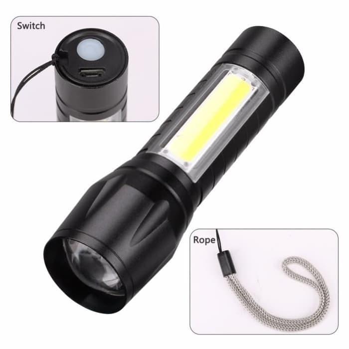 Foto Produk Senter Mini XPE Super Terang Cob LED Zoom Swat Police Light Recharger dari AnerStore