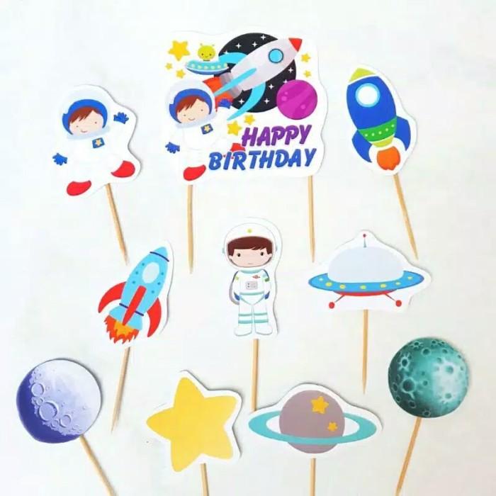Foto Produk satu set topper cake hiasan kue ulang tahun karakter astronot boy dari recht shop