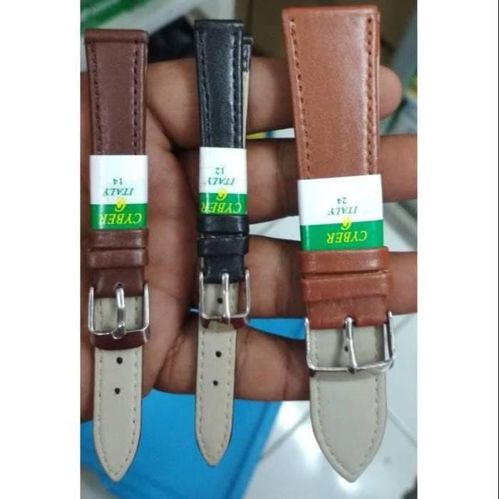 Foto Produk Tali Cyber Strap Jam Tangan Kulit Polos Hitam CoklatTua CoklatMuda - Hitam, 12mm dari grojam