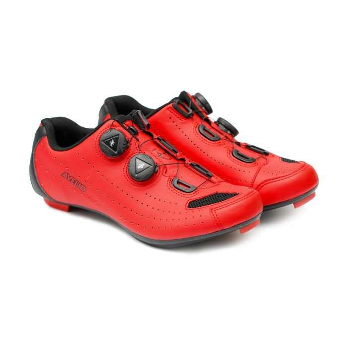 Foto Produk AVELIO Cleat Road Shoes Red - Sepatu Cleat Sepeda Roadbike - 43 dari Kaligung