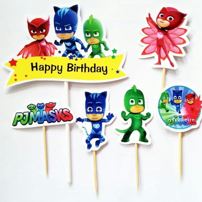 Foto Produk topper toper cake hiasan kue ulang tahun isi 6 karakter PJ mask pjmask dari recht shop